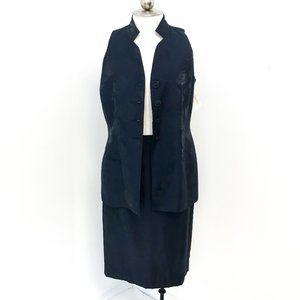 Dior 10P Metallic Floral Formal Skirt Suit Navy